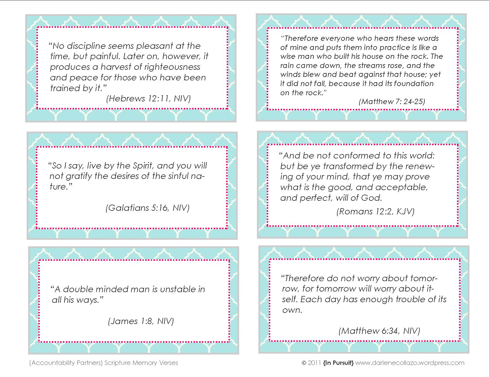 Scripture Memory Verses Printable