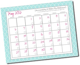 Blue lattice calendar, May 2012