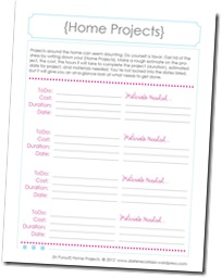 Family Binder Template, home projects1